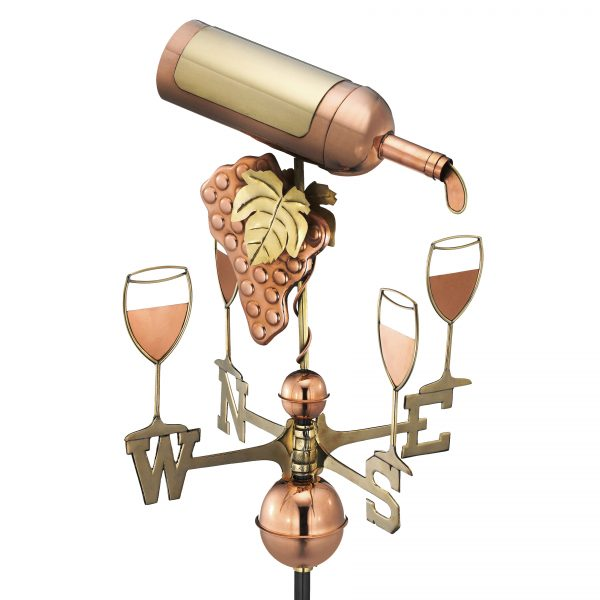 917P wine bottle weathervane polished copper