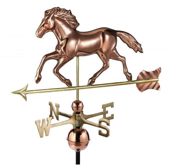952P smithsonian running horse weathervane polished copper