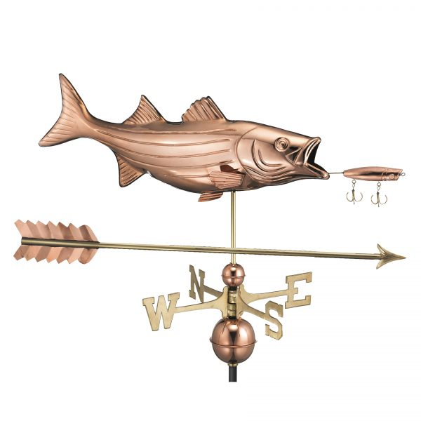 9602pa bass with lure and arrow weathervane pure copper