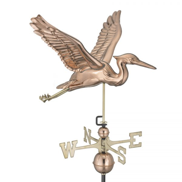 9606P blue heron weathervane polished copper