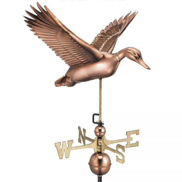9613P flying duck weathervane polished copper