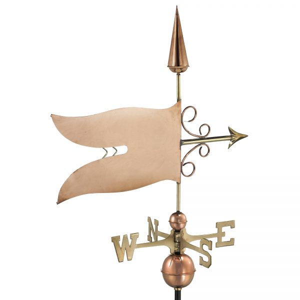 9628P banner weathervane polished copper