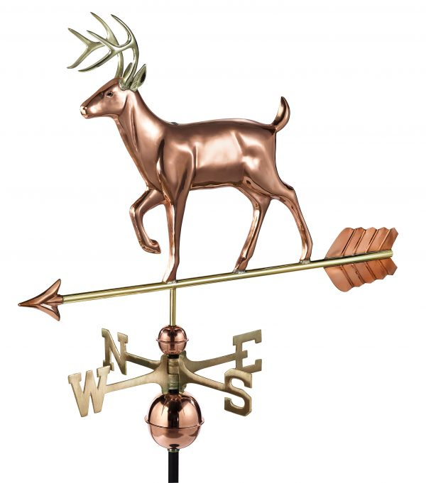 968p white tail buck weathervane pure copper